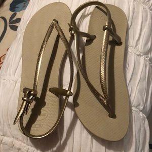 Havaianas Gold flip flops with heel strap, Sz 7-8